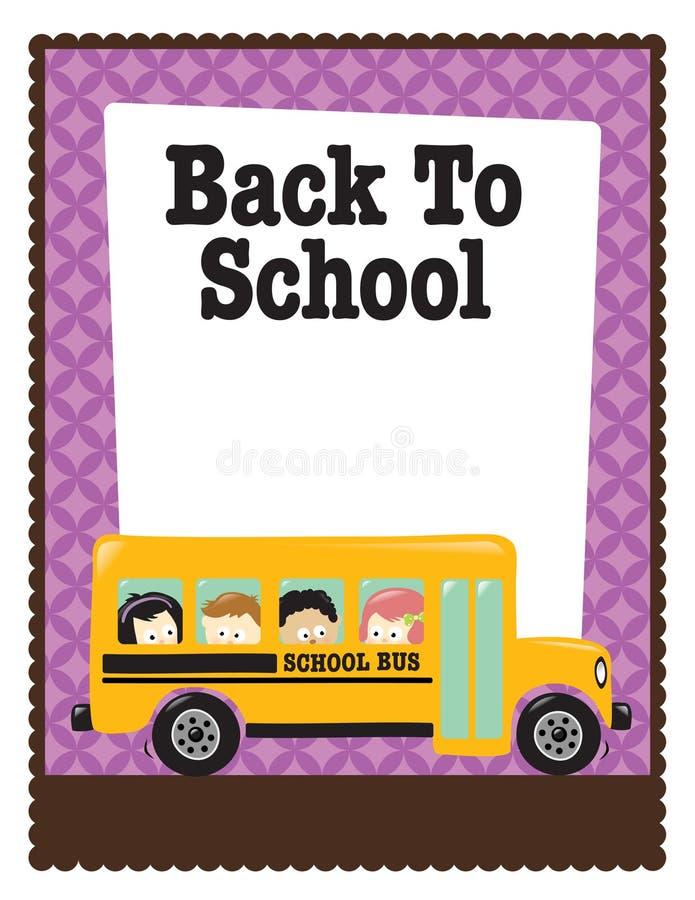 aviateur de l'école 8.5x11 avec le bus et les gosses illustration de vecteur