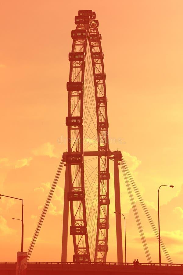 Aviateur de Singapour au coucher du soleil image stock