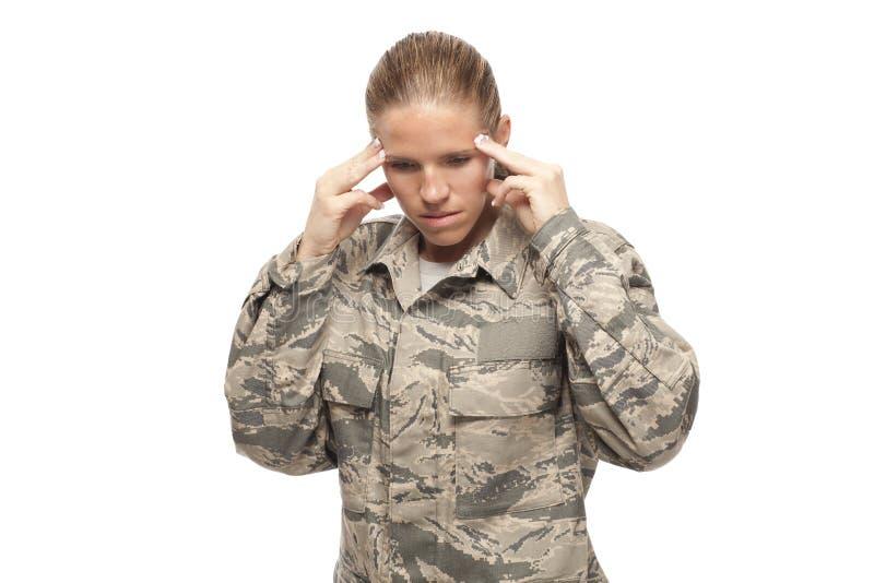 Aviateur féminin triste et soumis à une contrainte image libre de droits