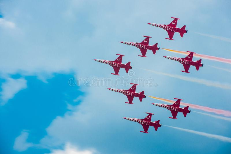Aviatic show.Planes at an aviatic show royalty free stock photos