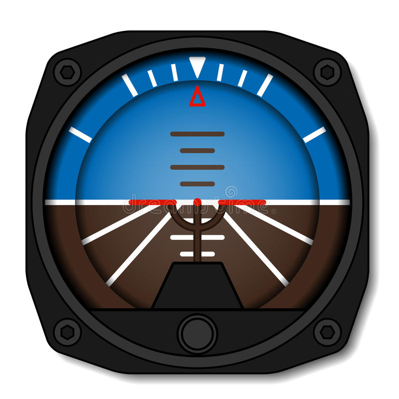 Aviation airplane attitude indicator - artificial gyroscope horizon royalty free illustration