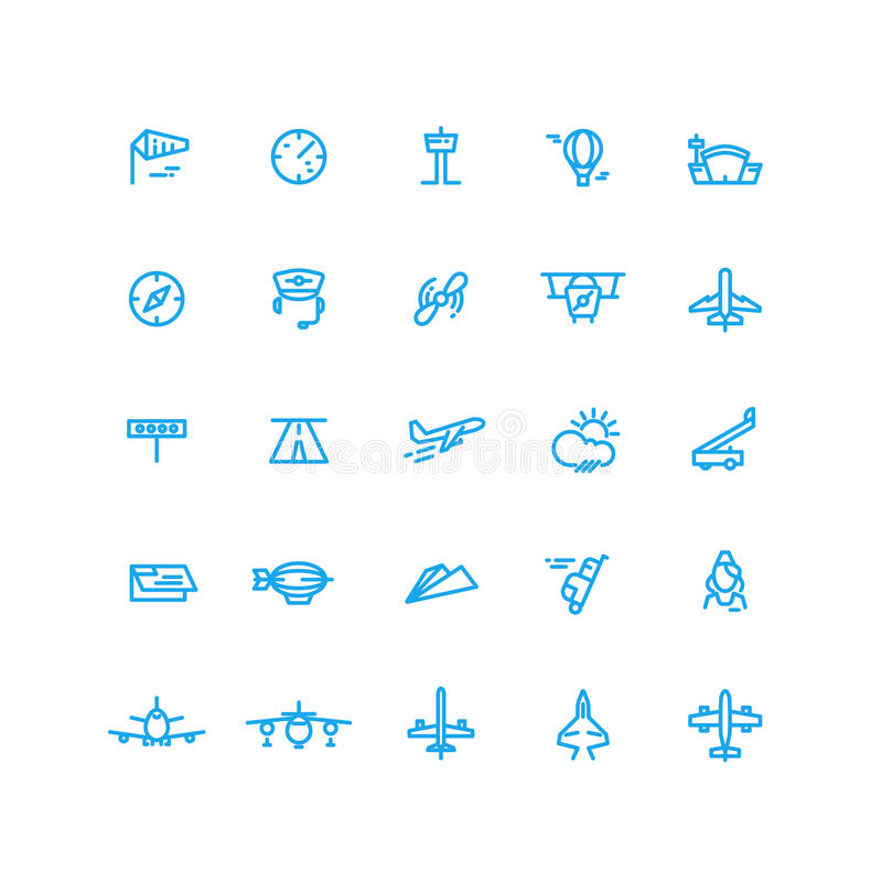 Aviation and airport line vector icons set. Aviation and airport line blue icons set. Vector illustration stock illustration