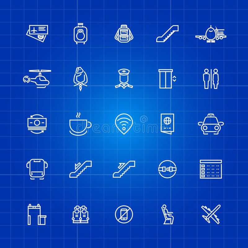 Aviation or airport outline icons set on blue background stock illustration