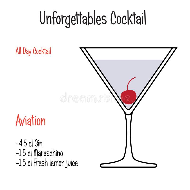 Aviation alcoholic cocktail vector illustration recipe isolated. Hand drawn alcoholic drinks, Aviation alcoholic cocktail vector illustration recipe. Bartender royalty free illustration
