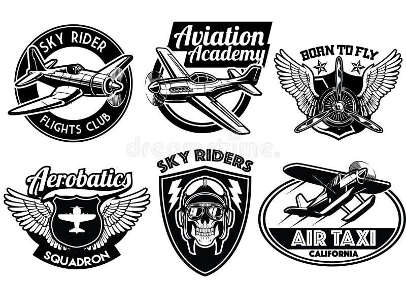 Aviation badge set. Vector of aviation badge set stock illustration