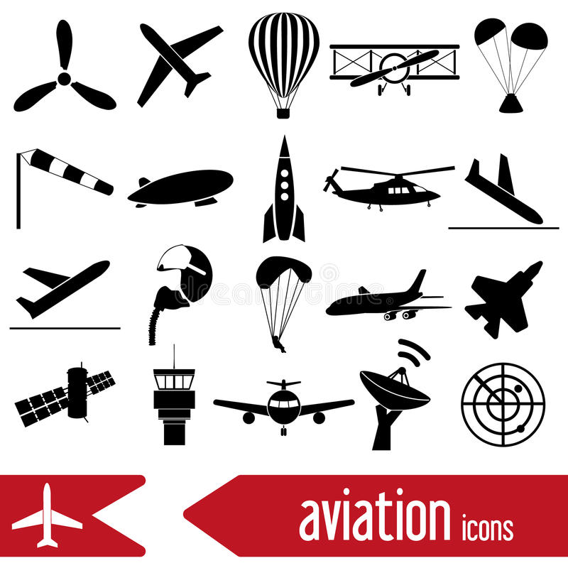 Aviation big set of simple icons eps10 vector illustration