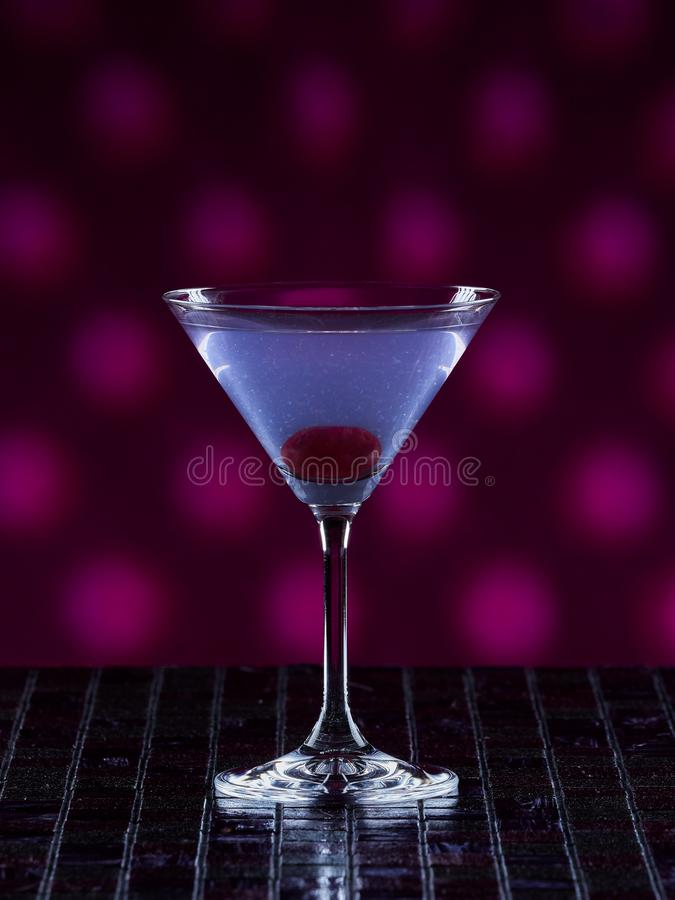 Aviation cocktail. On pink dotted background stock images