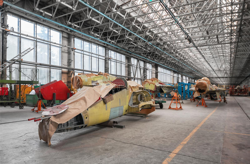 Download Aviation Factory Of Military Aircraft . Assembly Of The Russian Multirole Fighter. Stock Photo - Image: 68078620
