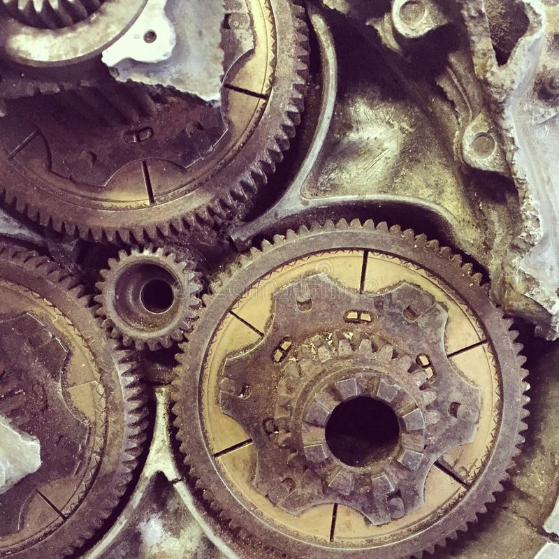 Aviation gears. Gears of old war aircraft stock image