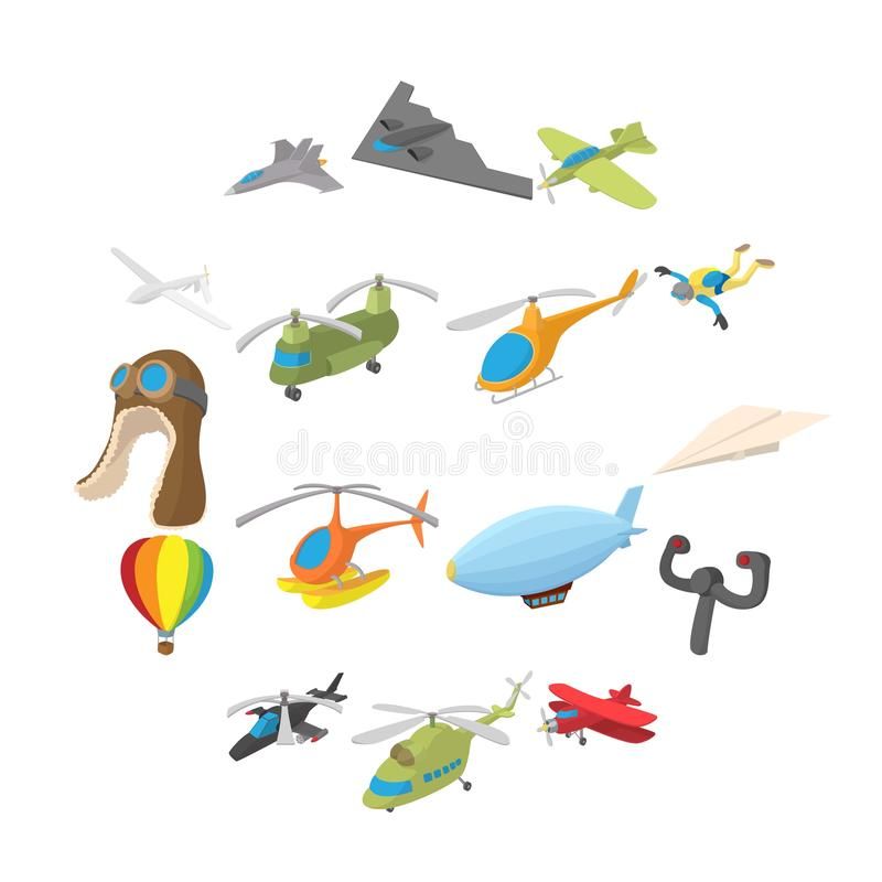 Aviation Icon Set, cartoon style. Aviation Icon Set in cartoon style isolated on white background vector illustration