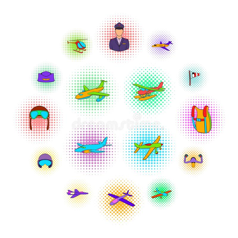Aviation Icon Set, pop-art style. Aviation Icon Set in pop-art style isolated on white background royalty free illustration