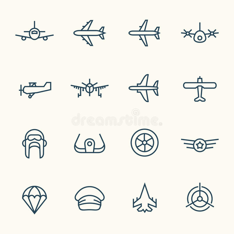 Aviation icon set. Vector Illustration royalty free illustration