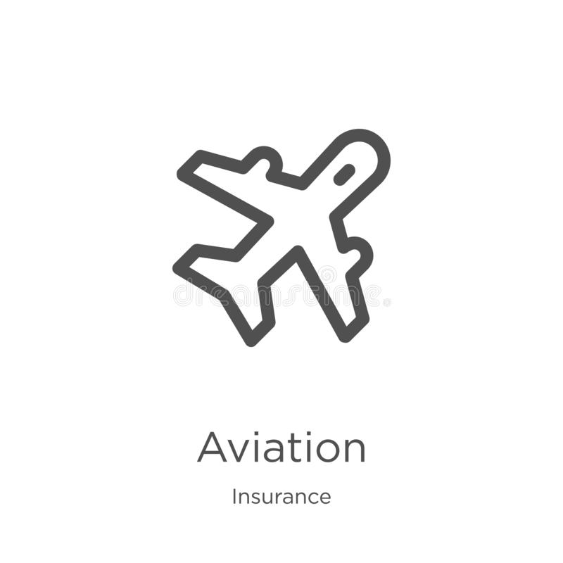 Aviation icon vector from insurance collection. Thin line aviation outline icon vector illustration. Outline, thin line aviation. Aviation icon. Element of royalty free illustration