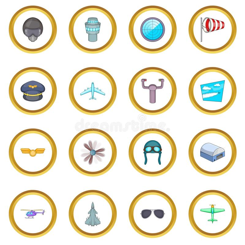 Aviation icons circle. Gold in cartoon style isolate on white background vector illustration stock illustration