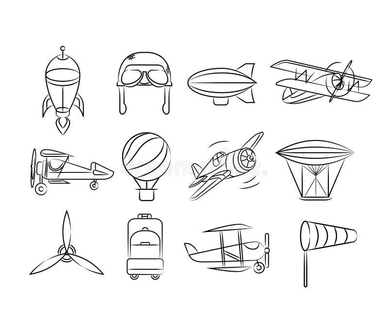 Aviation icons royalty free illustration