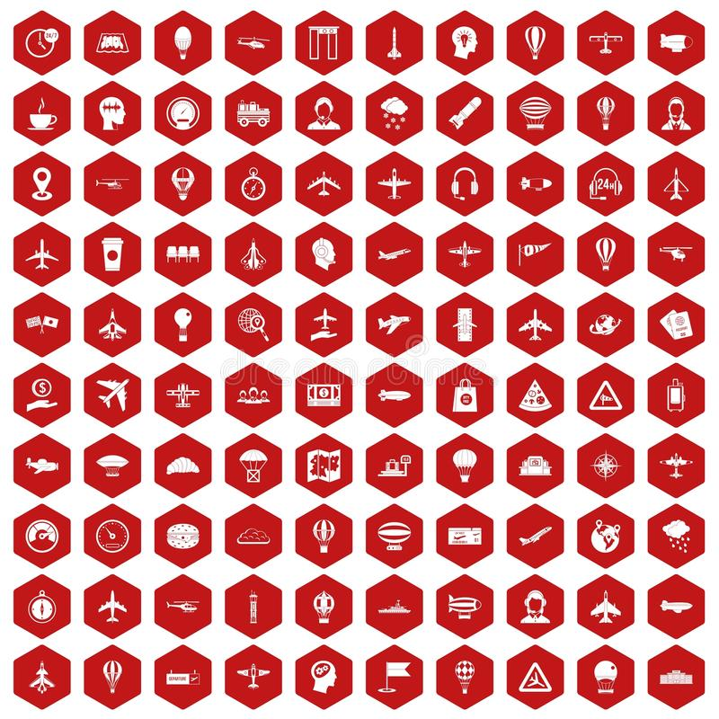 100 aviation icons hexagon red. 100 aviation icons set in red hexagon isolated vector illustration stock illustration