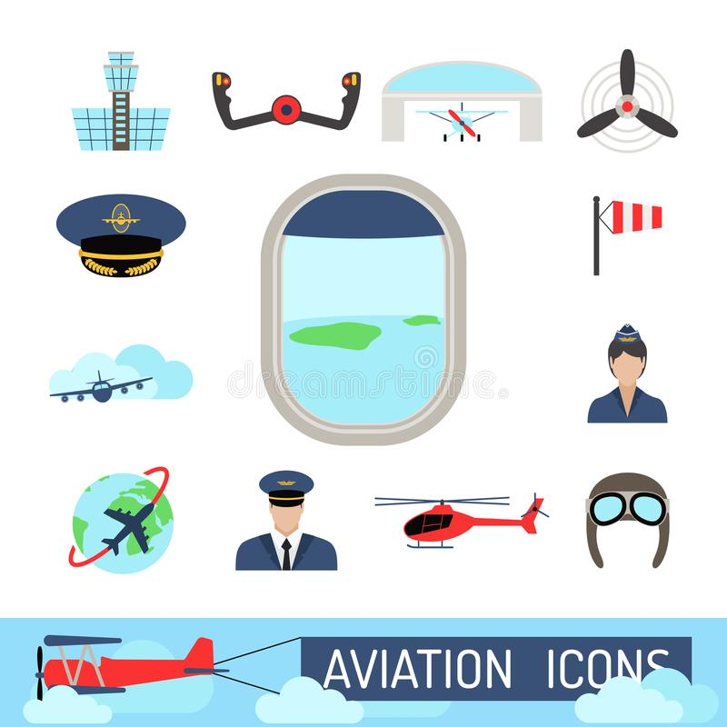 Aviation icons set airline station airport symbols departure terminal plane stewardess tourism vector illustration. Aviation icons vector set airline graphic vector illustration