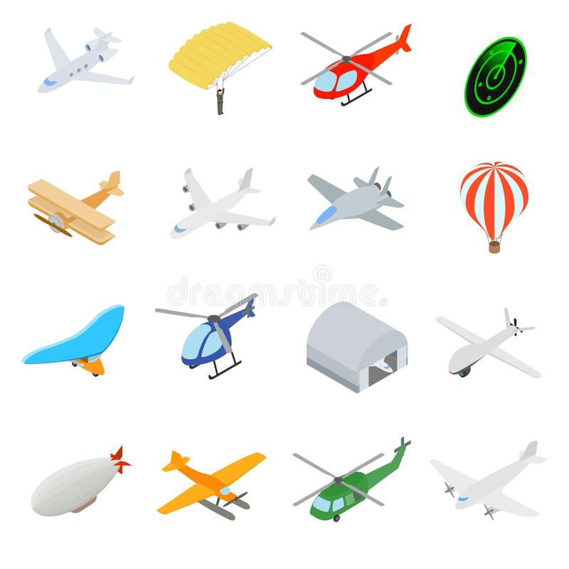 Aviation Icons Set. In isometric 3d style isolated on white vector illustration