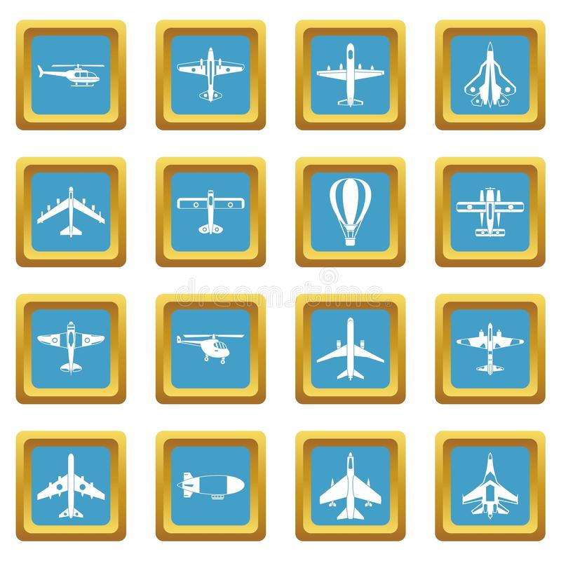 Aviation icons azure. Aviation icons set in azur color isolated vector illustration for web and any design royalty free illustration