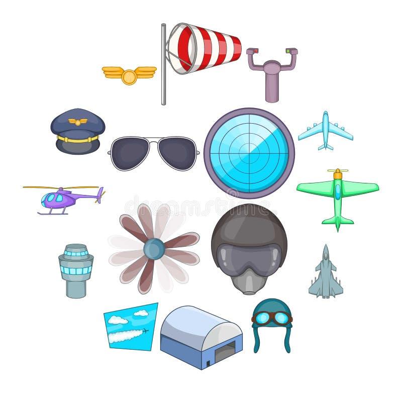 Aviation icons set, cartoon style. Aviation icons set. Cartoon illustration of 16 aviation vector icons for web vector illustration