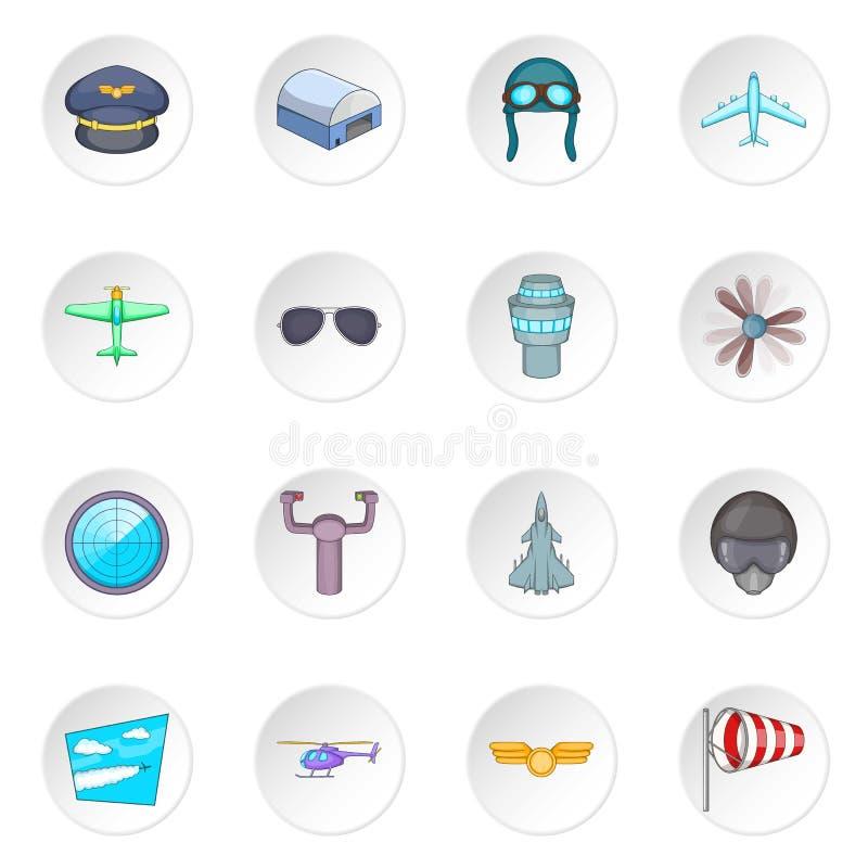 Aviation icons set. Cartoon illustration of 16 aviation vector icons for web royalty free illustration