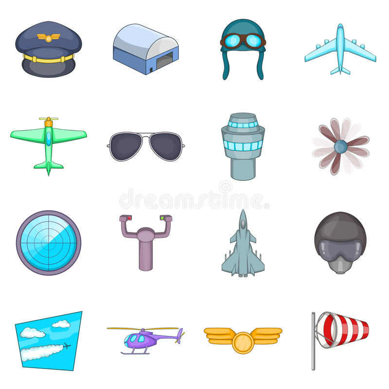 Aviation icons set, cartoon style. Aviation icons set. Cartoon illustration of 16 aviation vector icons for web royalty free illustration