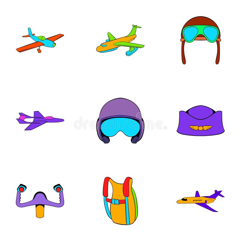 Aviation icons set, cartoon style. Aviation icons set. Cartoon illustration of 9 aviation vector icons for web vector illustration