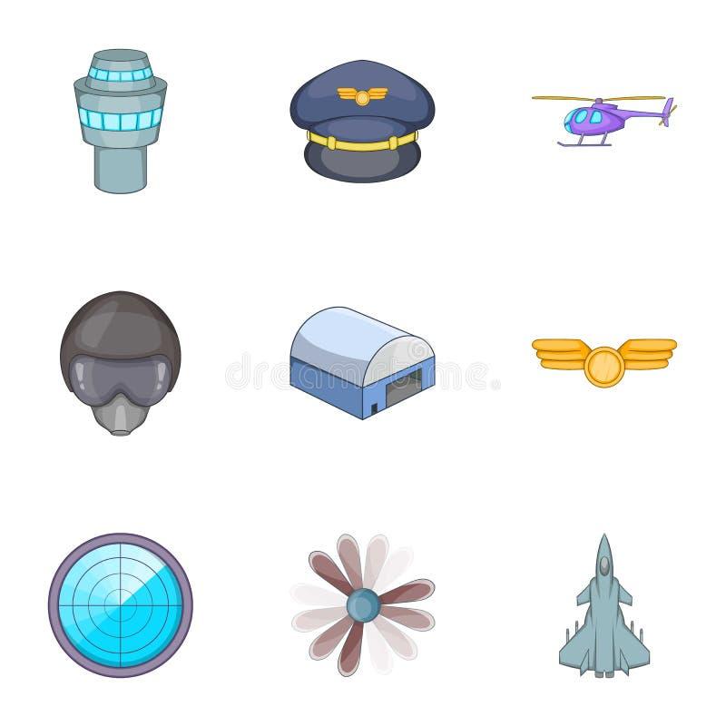 Aviation icons set, cartoon style. Aviation icons set. Cartoon illustration of 9 viation vector icons for web stock illustration