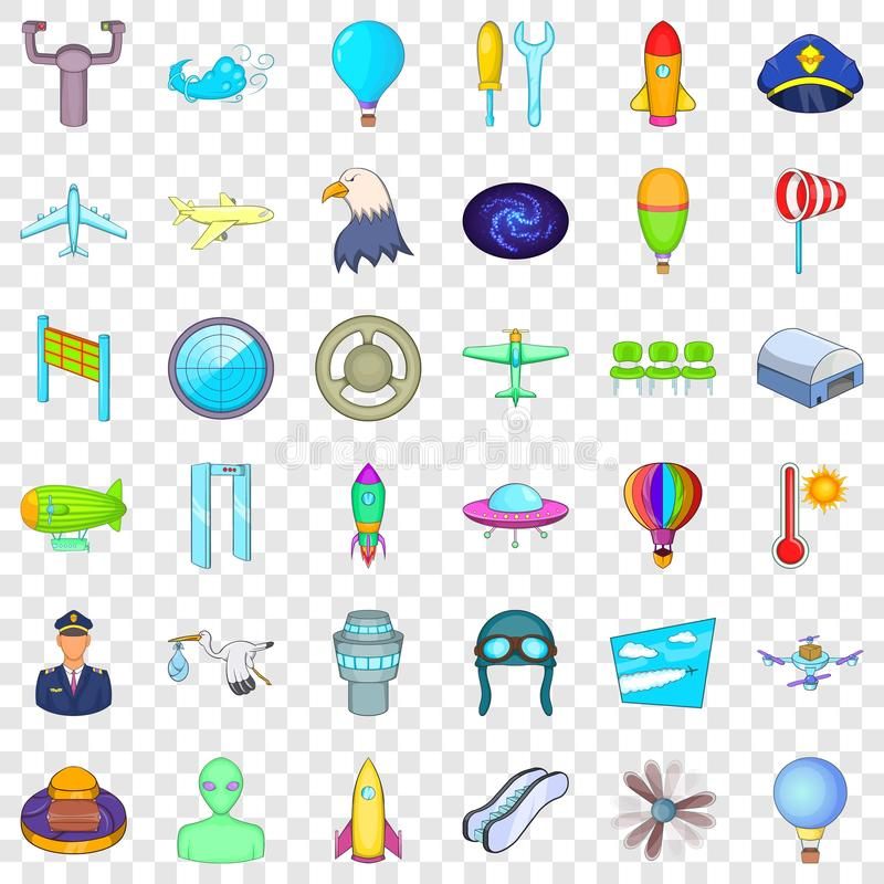 Aviation icons set, cartoon style. Aviation icons set. Cartoon style of 36 aviation vector icons for web for any design stock illustration