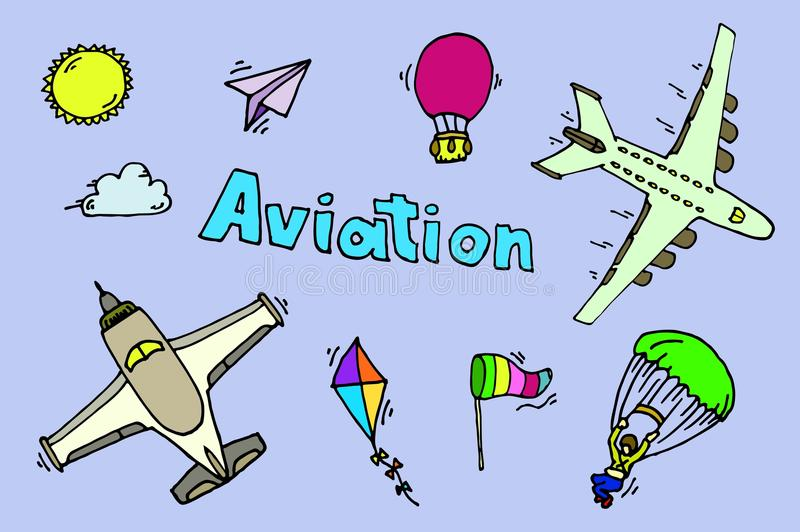 Aviation icons set. royalty free illustration