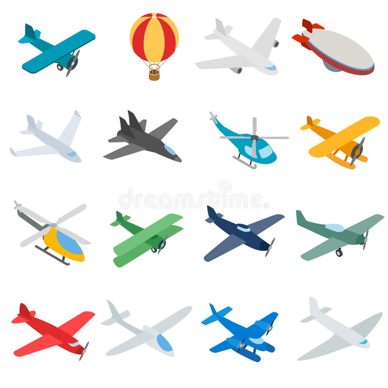 Aviation icons set, isometric 3d style stock illustration