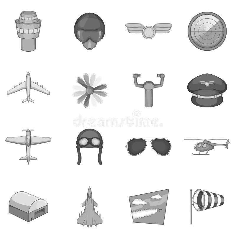 Aviation icons set, monochrome style. Aviation icons set in monochrome style isolated on white background stock illustration