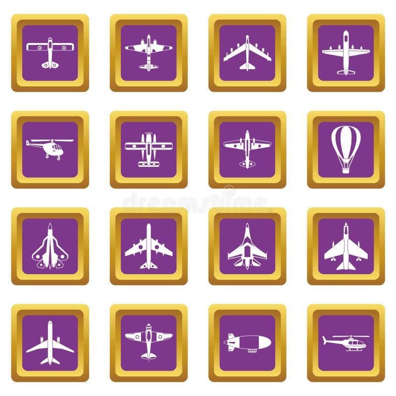 Aviation icons set purple royalty free illustration