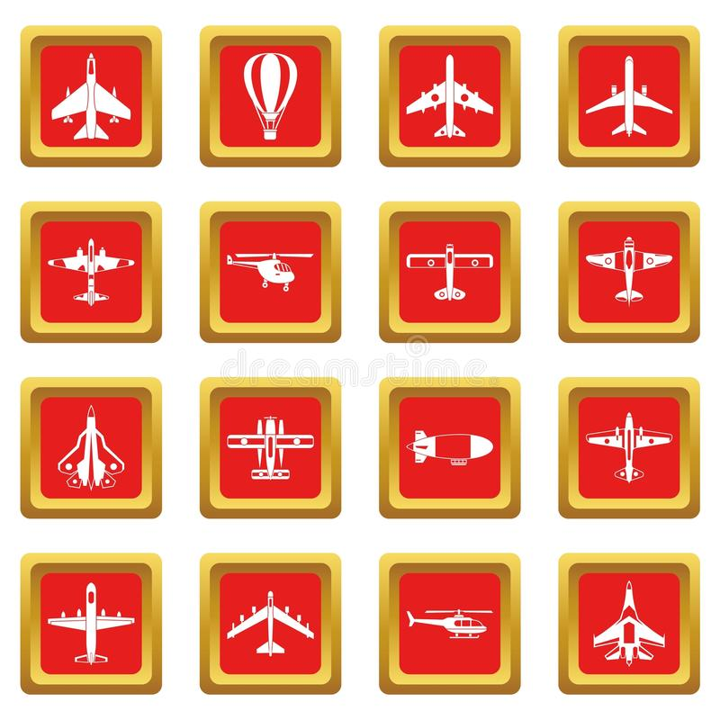 Aviation icons set red royalty free illustration
