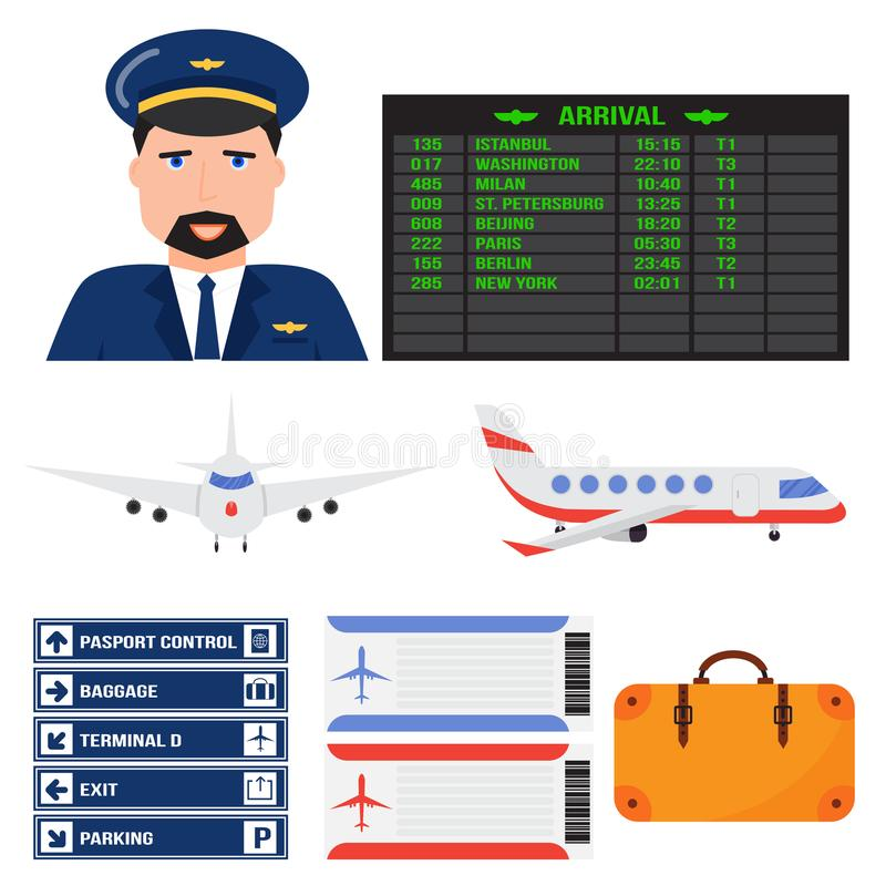 Aviation icons vector airline graphic airplane airport transportation fly travel symbol illustration stock illustration