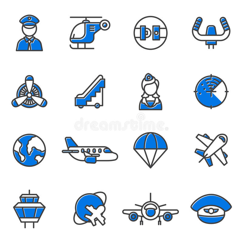 Aviation icons vector set stock illustration