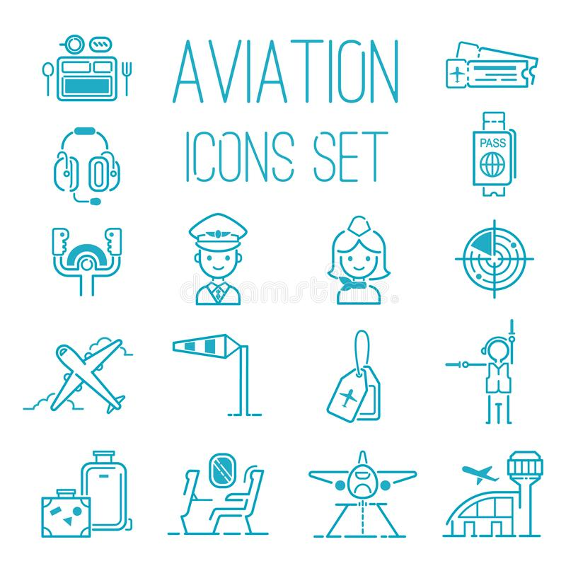 Free Aviation Icons Vector Set Airline Graphic Illustration. Flight Airport Transportation Aviation Icons Passenger Design Stock Photography - 110489342