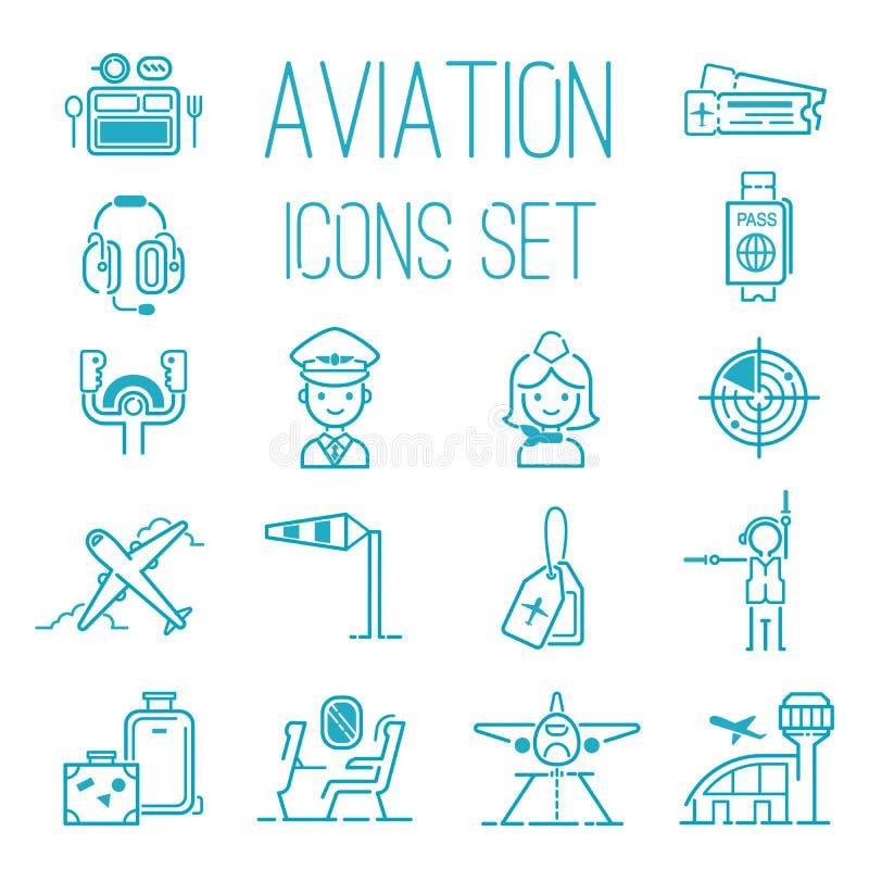 Aviation icons vector set airline graphic illustration. Flight airport transportation aviation icons passenger design vector illustration