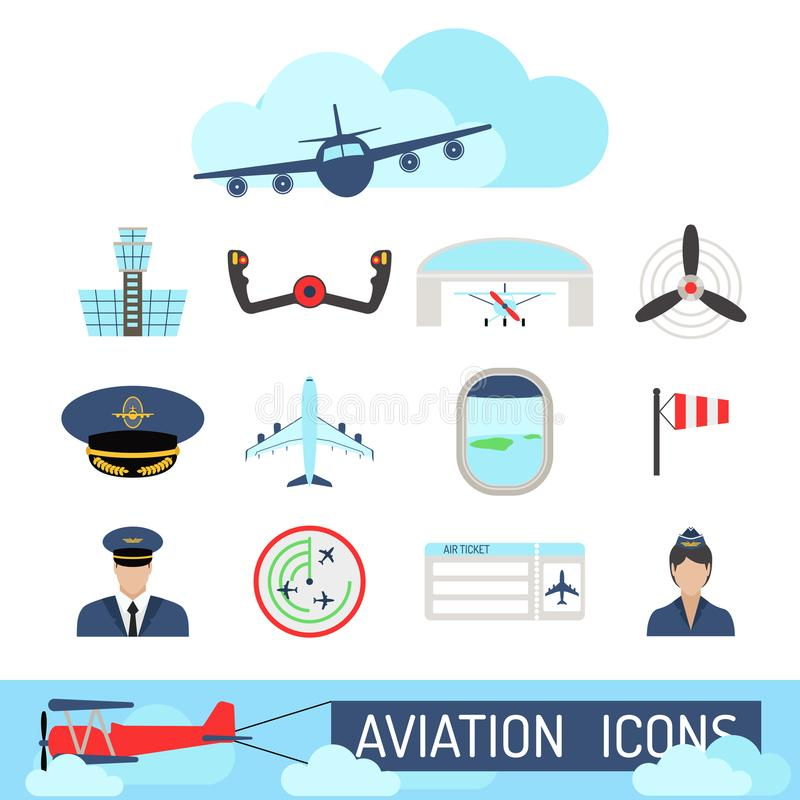 Aviation icons set airline station airport symbols departure terminal plane stewardess tourism vector illustration. Aviation icons vector set airline graphic stock illustration