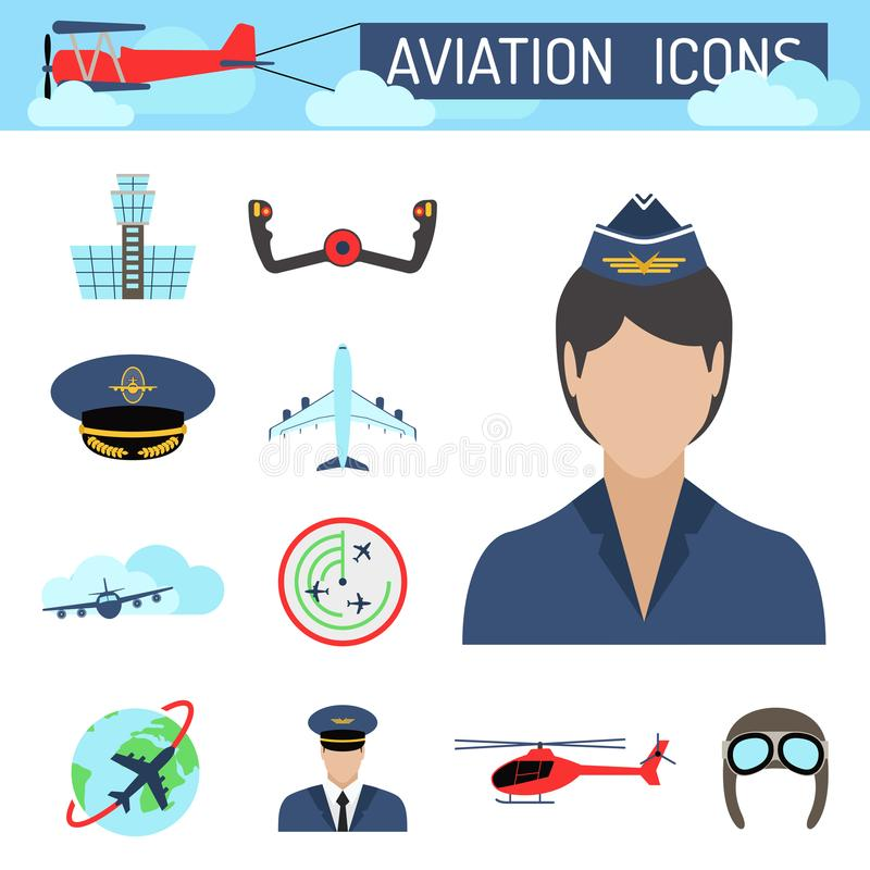 Aviation icons set airline station airport symbols. Aviation icons vector set airline graphic illustration station stewardess concept airport symbols departure vector illustration