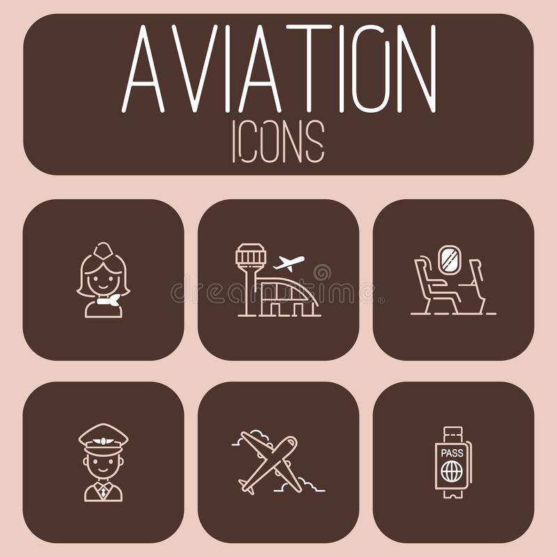 Free Aviation Icons Vector Set Airline Outline Graphic Illustration Flight Airport Transportation Passenger Design Departure. Stock Images - 115046704