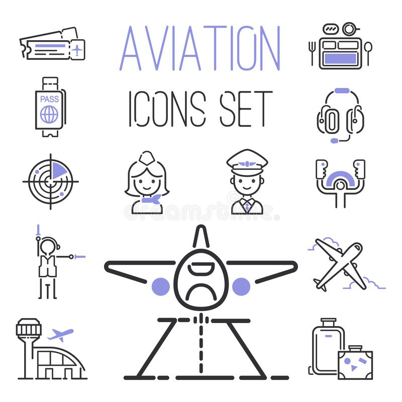 Free Aviation Icons Vector Set Airline Outline Graphic Illustration Flight Airport Transportation Passenger Design Departure. Stock Photos - 116569443