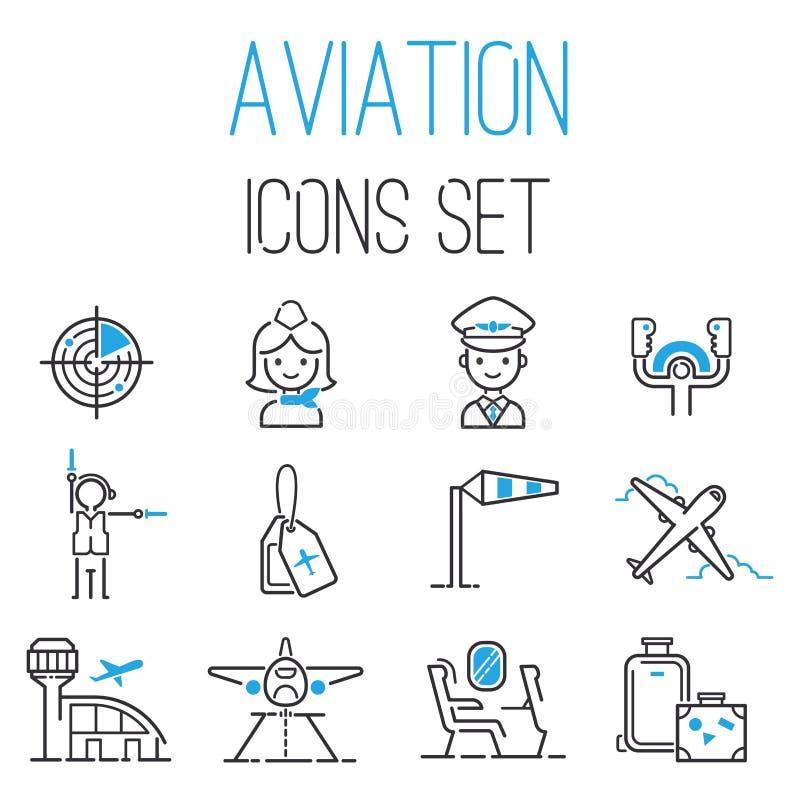 Aviation icons vector set airline outline graphic illustration flight airport transportation passenger design departure. vector illustration