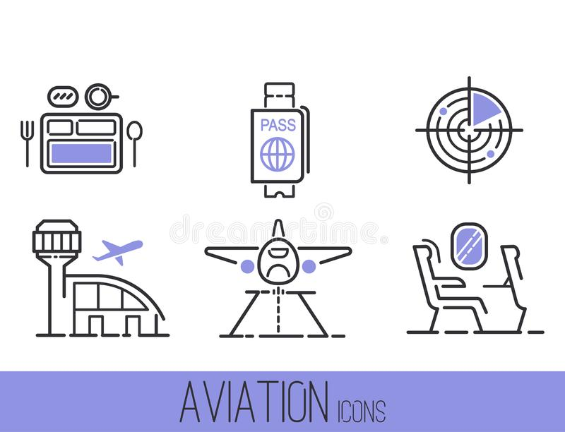 Aviation icons vector set airline outline graphic illustration flight airport transportation passenger design departure. Aviation icons departure cargo world stock illustration