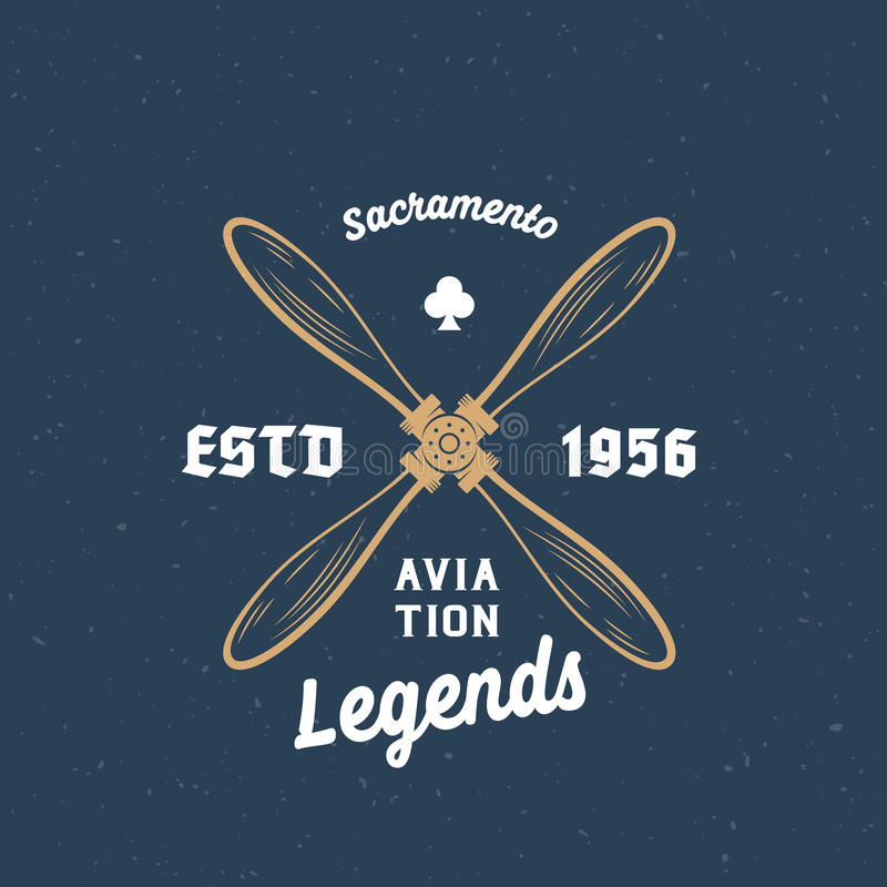 Aviation Legends Airplane Vector Retro Label, Sign or Logo Template. Vintage Wooden Airscrew with Typography and Shabby. Texture. On Blue Background vector illustration