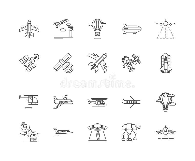 Aviation line icons, signs, vector set, outline illustration concept stock illustration