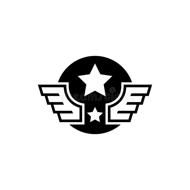 Aviation Military Wings with Star Flat Vector Icon stock illustration