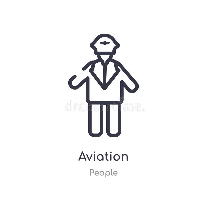 Aviation outline icon. isolated line vector illustration from people collection. editable thin stroke aviation icon on white. Background royalty free illustration