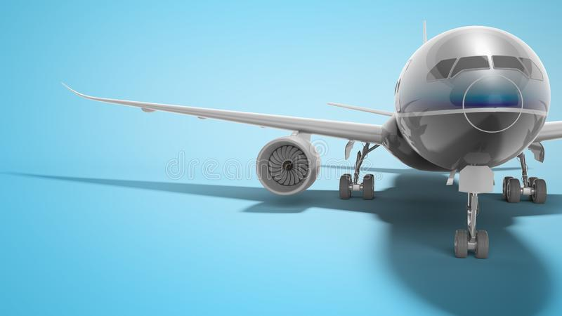 Aviation passenger plane isolated 3d render on blue background with shadow. Aviation passenger plane isolated 3d render on blue background royalty free illustration