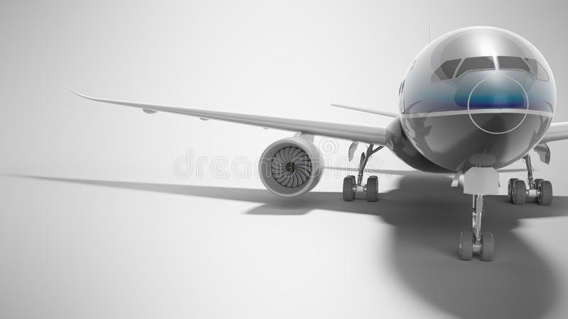 Aviation passenger plane isolated 3d render on gray background with shadow. Aviation passenger plane isolated 3d render on gray background royalty free illustration